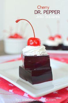 Cherry Dr. Pepper Jello Squares - cherry Jello & cherry Dr. Pepper make a fun summer treat