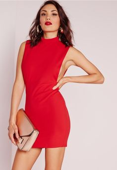 Missguided - High Neck Open Side Bodycon Dress.