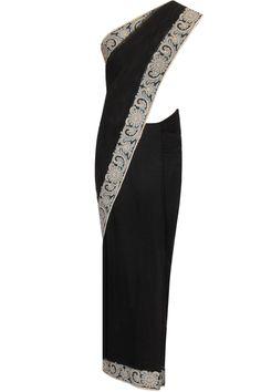 Black embroidered net sari by Surendri.    Shop now:  http://www.perniaspopupshop.com/designers/surendri-by-yogesh-chaudhary     #shopnow #perniaspopupshop #surendri