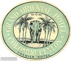 Vintage Luggage Labels Oerient | Grand Oriental Hotel luggage label, Ceylon early 1900s #IMG754