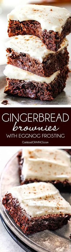 Soft and chewy Gingerbread Brownies are your favorite holiday cookie in rich chocolate brownie form all smothered in luscious Eggnog Cream Cheese Frosting! These are destined to become a must make holiday favorite and so much easier than rolling/baking individual cookies! via @carlsbadcraving