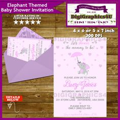 Pink and Gray Elephant Baby Shower Invitation by DigiGraphics4u #elephant #baby #girl #shower #invitation @etsy