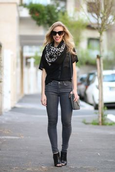 Vintage Leopard: YSL leopard print scarf, Adriano Goldschmied gray denim, black leather peep-toe booties, black and gray outfit