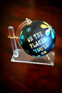 Whimsically hand painted globe Oh the by sharlenekaynedesigns, $120.00