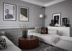 Inside a Refined Stockholm Apartment in Shades of Grey - Nordic Design Nordic Living Room, Cozy Living Rooms, Living Room Decor, Living Spaces, Contemporary Interior Design, Contemporary Furniture, Stockholm Apartment, Best Decor, Dyi