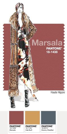 Haute Hippie in Pantone Marsala - FALL 2015 PANTONE's FashionColorReport. Prominent Colors: Antique Ivoire, Vintage Rose, Fig, Rusty Nail, Buckhorn Brown and Dark Military, balanced with spice colors and natural earth tones.
