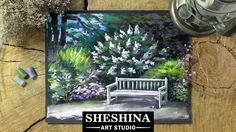 How to draw a bench in the garden with soft pastels Sheshina Ekaterina