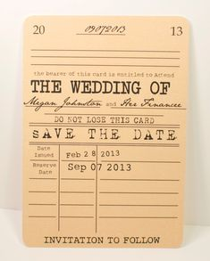 Vintage Library Save the Date Card - Literary Theme. $1.25, via Etsy.