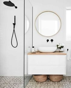 A patterned is an easy way to instantly up the style stakes in any This fibro beach shack was given a stylish all-white… Minimalist Bathroom, Modern Bathroom, Small Bathroom, Bathroom Beach, White Bathrooms, Bathroom Wall, Bathroom Renos, Laundry In Bathroom, Shiplap Bathroom