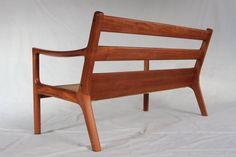 Sofa teakwood Ole Wanscher vintage wool mid-century by Trulleberg