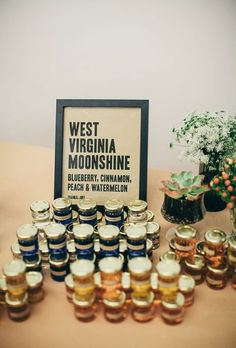 Brides.com: 25 Edible Wedding Favors Your Guests Will Love Bottle up some flavored homemade moonshine and display the labeled bottles near the reception exit for guests to grab as they depart the reception. Photo: M Lindsay Photography