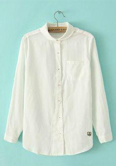 White Blending Doll collar Long Sleeve Button Fly TOPS
