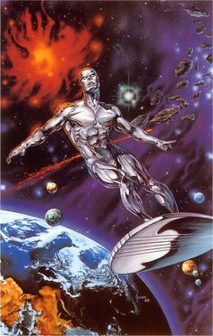 Magnificent Silver Surfer painting by Joe Jusko - used for the dust jacket for the hardcover graphic novel Judgement Night by Stan Lee and John Buscema. Every page was a splash page! Great stuff!!