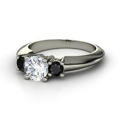 Round Diamond Platinum Ring with Black Diamond
