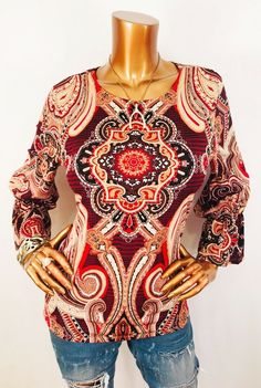 87af98b65 Chico's 1 or M Top Stretch Blouse Shirt Paisley Design Crew Bell Sleeves |  eBay