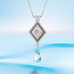 GLACIAL GLEAM PENDANT by VOTIVE •  Paraiba, Pink Sapphire, White Diamonds, 18k White Gold