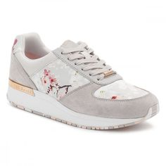 Womens Oriental Blossom Esmay Trainers ($125) ❤ liked on Polyvore featuring shoes, sneakers, ted baker, metallic leather shoes, genuine leather shoes, flower print sneakers and flower print shoes