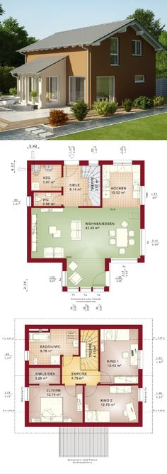 Einfamilienhaus Neubau modern mit Wintergarten Anbau & Satteldach Architektur im Landhausstil - Haus bauen Grundriss Evolution 125 V5 Bien Zenker Fertighaus Ideen - HausbauDirekt.de