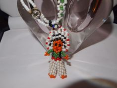Vintage Beaded Native American Indian Bracelet with Headress