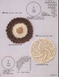 Kira knitting - Round motifs, in Japanese with charts