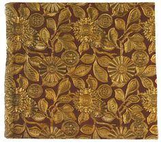 Wallcovering Lincrusta-Walton, 1884. Lincrusta, painted and gilded. England.
