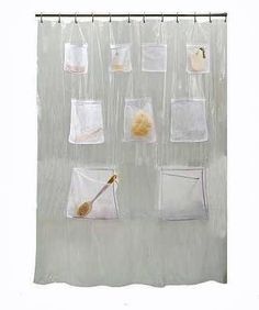 Amazon Com Creative Bath Products Pockets Clear Vinyl Shower Curtain  Home Kitchen