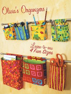 Organizadores, cute way to organize-maybe in closet or bathroom as well as craft room? Fabric Crafts, Sewing Crafts, Sewing Projects, Knitting Projects, Sewing Tutorials, Sewing Hacks, Sewing Tips, Kwik Sew Patterns, Pattern Sewing