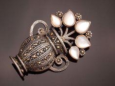 Vintage Marcasite Pin Brooch Silver Grecian by BelmontandBellamy