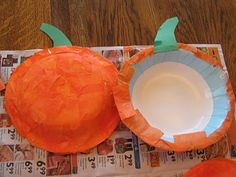 Pumpkin Shakers: Bowls, tissue paper, construction paper stem, pumpkin seeds