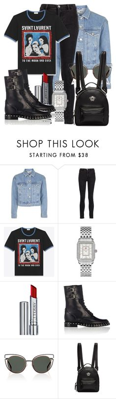 """""""Untitled #4772"""" by beatrizvilar ❤ liked on Polyvore featuring Topshop, Marc by Marc Jacobs, Yves Saint Laurent, Michele, By Terry, Valentino, Fendi and Versace"""