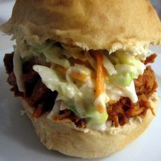 crock pot pulled pork and coleslaw sandwiches from tasty kitchen on pioneer woman blog.  Love this. The slaw is killer and ever so easy. I make it more than the pork