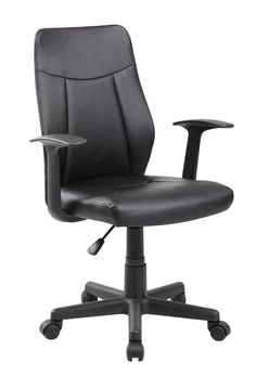 FeaturesModern Ergonomic Mesh Medium Back Computer Desk Task Office Chair with Black SeatBlack seat and back. PU materialMid-back Task Chair with armrestsAffordable and comfortableBroadly designed base is stableComfort and support