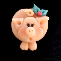 *POLYMER CLAY ~ Christmas Pig Pin by Clayin Around