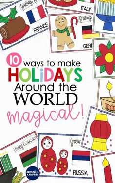 10 Magical Ways To Teach Holidays Around the World - Around the Kampfire - Teaching ideas that make Holidays Around the World magical for your students! Teachers, this post is - Preschool Lessons, Preschool Activities, Educational Activities, World Crafts, Preschool Christmas, Thinking Day, Christmas Activities, Engagement Ideas, Around The Worlds