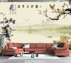 Tapisserie fantaisie papier peint paysage fond marin ville for Poster mural geant zen