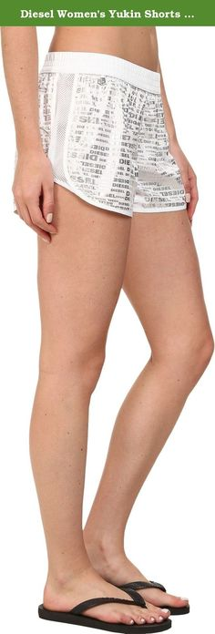 Diesel Women's Yukin Shorts QAGB White Pajama Bottoms. Diesel Intimates & Swim Size Guide Beach-ready style with a splash of sporty spice! Lightweight polyester fabrication. Allover print. Smocked elastic waistband. Slant hand pockets. Mesh side panels. Curved hem. 100% polyester. Machine wash cold, dry flat in shade. Imported. Measurements: Waist Measurement: 28 in Outseam: 9 in Inseam: 2 in Front Rise: 9 in Back Rise: 13 in Leg Opening: 24 in Product measurements were taken using size…