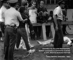Chained to a fellow protestor, a young black woman, Bernie Sanders was arrested in 1963 for protesting segregation.