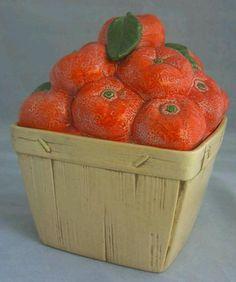 Poppy Trail Metlox Cookie Jar, TANGERINE BASKET, California, Fruit, RARE! | eBay