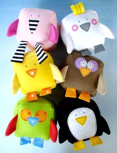 SALE - PDF ePATTERN - Bird Blocks Toy Sewing Pattern - Flamingo, Cockatoo, Chick, Owl, Parrot and Penguin. $4.99, via Etsy.