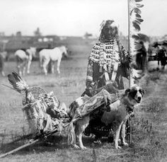 Native Woman with Travois