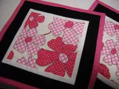 Mug Rug Quilted Bright Pink Floral Gifts Under by fabricartist21