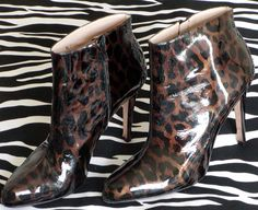 SUPER-SEXY Anne Klein Stiletto Booties LACQUER Animal Print - http://vintagedesignerclothing.net/product/super-sexy-anne-klein-stiletto-booties-lacquer-animal-print/ - #AnimalPrint, #AnneKlein, #Lacquer, #Leather, #MintCondition, #ShoesToDieFor, #Size9105, #StilettoBooties, #SUPERSEXY, #Vintage - These Anne Klein Stiletto Booties are elegant, exquisite quality and yet, flashy and crazy sexy! Shoes To Die For!  The booties are ALL LEATHER. The upper is very shiny lacquer. Th