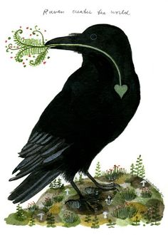 """""""Raven Creates the World"""": by Diana Sudyka """"Taking hikes on Orcas while telling Isabel that the croaking call that she hears echoing throughout the hills and towering stands of cedar is that of the raven, and then explaining that the raven created the world and is a bit of a trickster."""""""