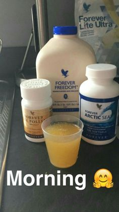 A great way to start your day! Freedom for your joints, Arctic Sea (natural fish oil, rich in and Bee Pollen - an all-natural supplement with no preservatives. Forever Living Clean 9, Forever Living Aloe Vera, Forever Aloe, Aloe Heat Lotion, Aloe Vera Juice Drink, Health And Beauty, Health And Wellness, Forever Freedom, Forever Business