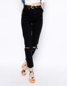 Enlarge ASOS TALL Farleigh High Waist Slim Mom Jeans in Washed Black with Busted Knees
