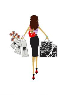 girl shopping illustration
