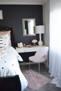 Short on space? Try creating an office space beside your bed. This desk and accessories make this a place you'll want to get all of your work done. HomeGoods Sponsored Pin.