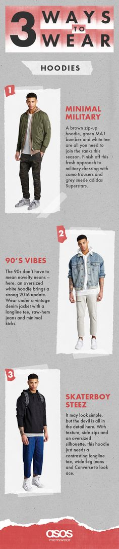 From minimal military to some serious 90s vibes, here are our top 3 ways to wear a hoodie.