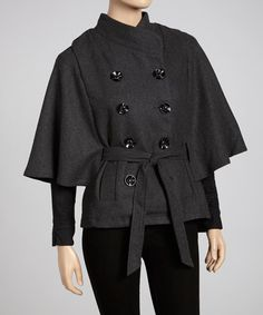 Take a look at this Gray Wool-Blend Cape-Sleeve Coat - Women by Luii on #zulily today!