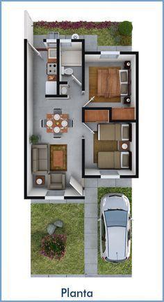 Planos de Casas y Plantas Arquitectónicas de Casas y Departamentos: Casa de una planta y dos recámaras